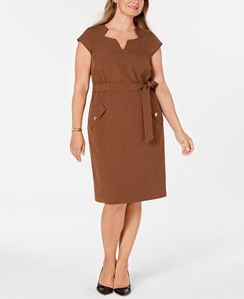 Платье больших размеров с поясом Kasper