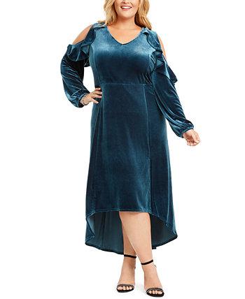 Платье макси с высокой талией и бархатом плюс размер NY Collection