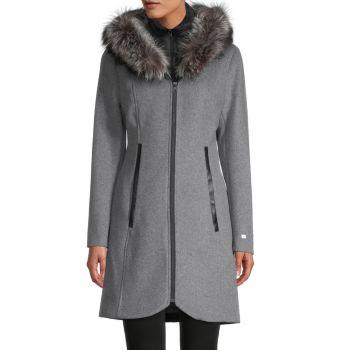 Меховая оторочка Charlena Fox, пальто из смесовой шерсти Soia & Kyo