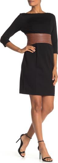 Платье-футляр из искусственной кожи с вырезом на талии SHANI