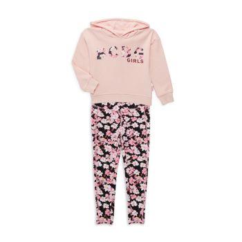 Толстовка с капюшоном и логотипом Little Girl из двух предметов Комплект леггинсов с цветочным рисунком BCBG Girls