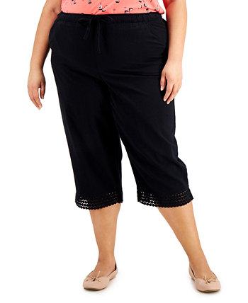 Plus Size Cotton Crochet-Hem Capri Pants, Created for Macy's Karen Scott