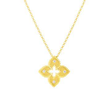 Petite Venetian Extra-Small 18K, желтое золото & amp; Ожерелье с бриллиантовой подвеской Roberto Coin