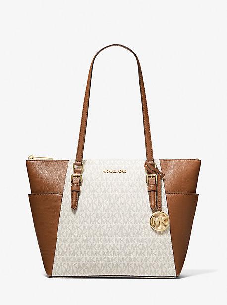Кожаная большая сумка Charlotte с большим логотипом и молнией сверху Michael Kors