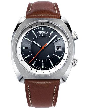 Мужские швейцарские автоматические часы Startimer Pilot Heritage с коричневым кожаным ремешком, 42 мм Alpina