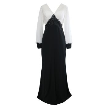 Платье из шифона и кружева со складками Tadashi Shoji