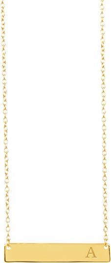 Первоначальное ожерелье слитка с вермеилом из желтого золота 585 пробы - доступно несколько букв Sterling Forever