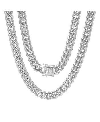 Мужские 30-дюймовые кубинские звенья из нержавеющей стали Miami с 10-миллиметровыми ожерельями с застежкой-коробкой STEELTIME