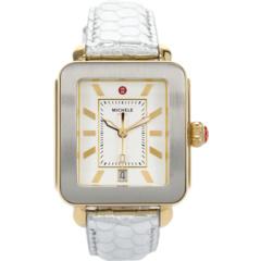 Часы Deco Sport золотистого цвета с тиснением серебристой кожи с тиснением Michele