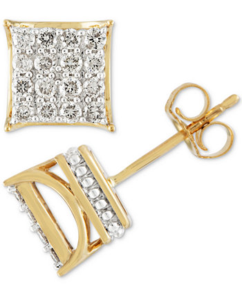 Мужские серьги-гвоздики с бриллиантами и квадратными кластерами (1/2 карата) из золота 10 карат Macy's