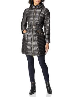 Металлическое складывающееся пуховое пальто с поясом Via Spiga