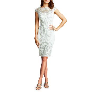 Платье-футляр с короткими рукавами и пайетками Tadashi Shoji