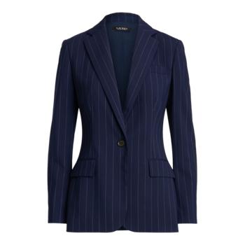 Striped Wool Crepe Blazer Ralph Lauren