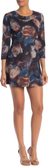 Свободное платье с рукавами 3/4 с акварельным цветочным рисунком Papillon