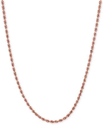 Ожерелье с веревочной цепью (1-3 / 4 мм) из розового золота 14 карат Italian Gold