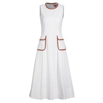 Платье Bait с отделкой из искусственной кожи с карманами STAUD