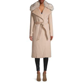 Полушерсть и шерсть Пальто с воротником из искусственного меха Karl Lagerfeld Paris