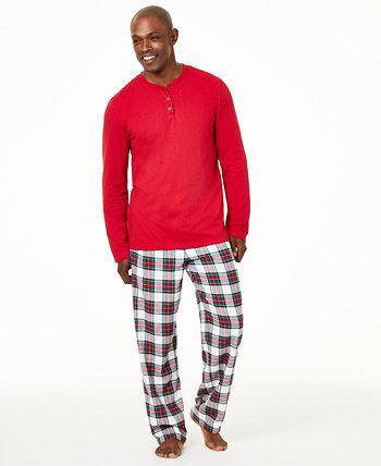 Семейный пижамный комплект Stewart Plaid, подходящий для больших и высоких, созданный для Macy's Family Pajamas