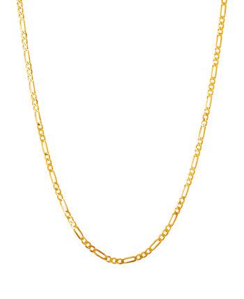 """Полированная цепочка 22 """"Figaro из твердого желтого золота 10 карат Italian Gold"""