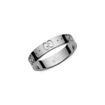 Тонкое кольцо Icon из белого золота 18 карат GUCCI