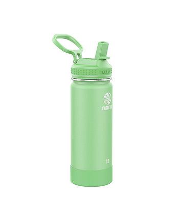 Активы из нержавеющей стали 18 унций. Изолированная бутылка для воды с соломенной крышкой Takeya