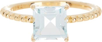 Кольцо-солитер с голубым топазом из 14-каратного позолоченного серебра огранки принцессы Judith Ripka