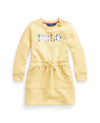 Флисовое платье с цветочным логотипом для маленьких девочек Ralph Lauren