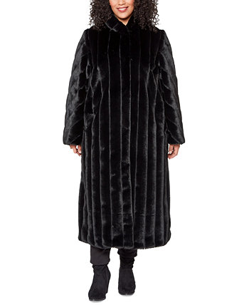 Plus Size Hooded Faux-Fur Maxi Coat Jones New York