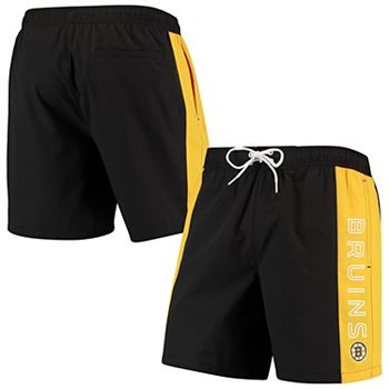 Men's G-III Sports by Carl Banks Black/Gold Boston Bruins Outfield Volley Swim Trunk G-III