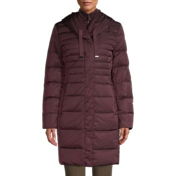 Длинная куртка-пуховик с пуховым наполнителем T Tahari