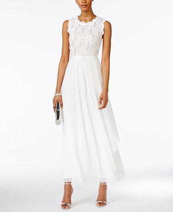 Кружевное шифоновое платье с блестками R & M Richards
