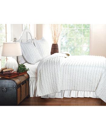 Комплект стеганого одеяла с рюшами, двухкомпонентный двойной Greenland Home Fashions
