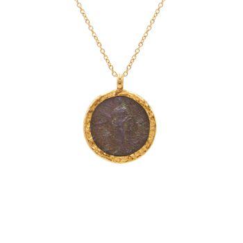 Предметы старины 18К, 22К & amp; Ожерелье с подвеской в виде римской монеты из желтого золота 24 карат Gurhan