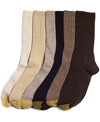 Женские носки с круглым вырезом в рубчик, 6 пар. Gold Toe