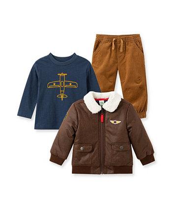 Куртка-авиатор для маленьких мальчиков, футболка и брюки, комплект из 3 предметов Little Me
