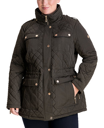 Стеганое пальто больших размеров с капюшоном Michael Kors