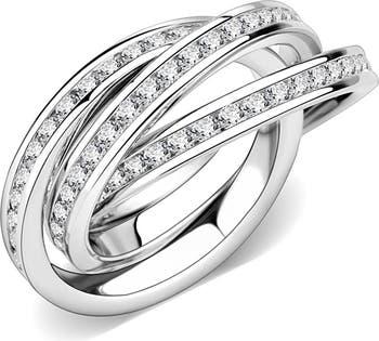 Связанное кольцо с паве из CZ Covet