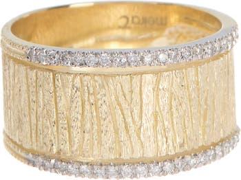 Кольцо из желтого золота 585 пробы с матовым бриллиантом - Размер 6.5 - 0.20 карат Meira T
