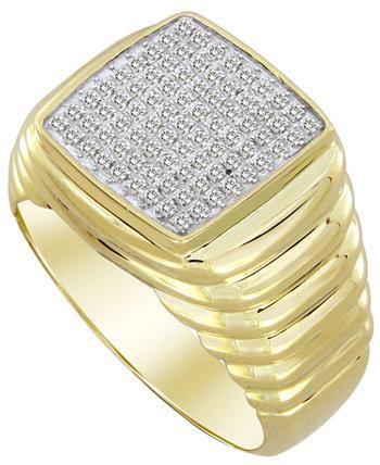 Мужское кольцо с бриллиантом (1/4 карата) из желтого золота 10 карат Macy's