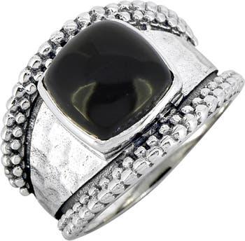 Серебряное кольцо с черным ониксом и бусинами Nitya