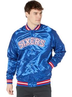 Легкая атласная куртка NBA 76ers Mitchell & Ness