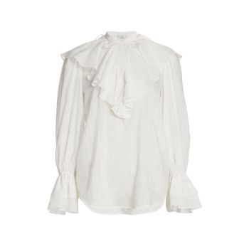 Nashville Ruffle Cotton & amp; Шелковая блузка Etro