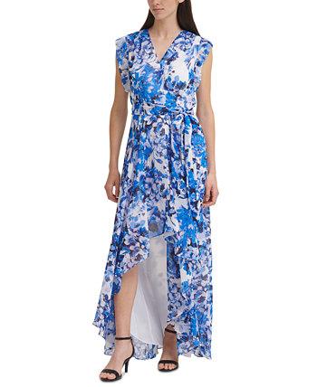 High-Low Faux-Wrap Dress Eliza J