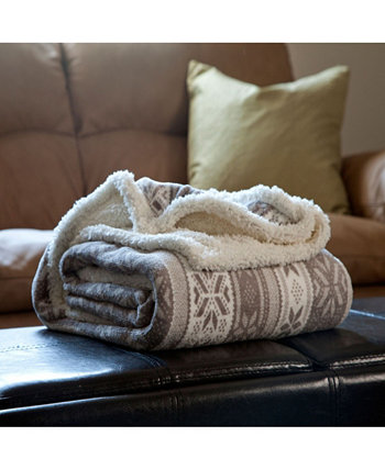 Домашнее флисовое одеяло Sherpa Snow Flakes Throw BALDWIN