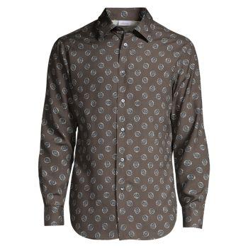 Шелковая рубашка с принтом медальонов Brioni