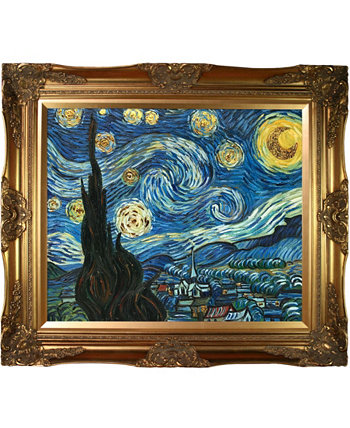 "by Overstockart Starry Night by Vincent Van Gogh with Victorian Frame Oil Painting Wall Art, 32"" x 28"" La Pastiche"