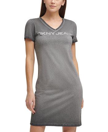 Nail Head Logo T-Shirt Dress DKNY Jeans