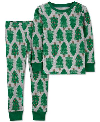 Маленькие мальчики и девочки 2 шт. Пижамный комплект с верхом и низом для рождественской елки Snug Fit Carter's