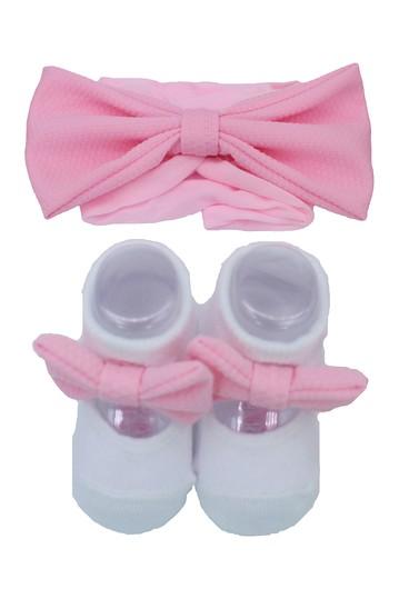 Бело-розовая повязка на голову и комплект из двух носков Mary Jane (для маленьких девочек) Laura Ashley
