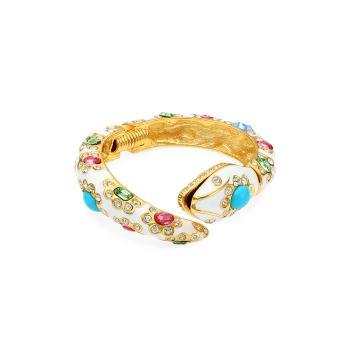 22K Goldplated, Enamel & Multi-Color Crystal Snake Hinge Bracelet Kenneth Jay Lane